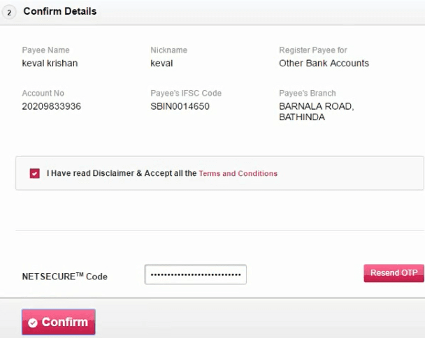 confirm payee details axis bank