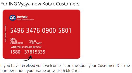customer id ing vysa now kotak user