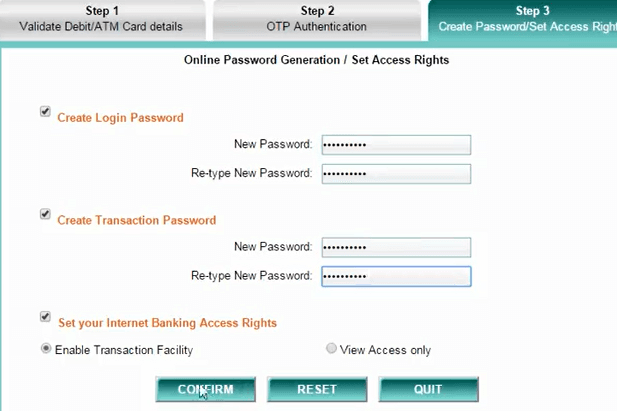 create new login and transaction password