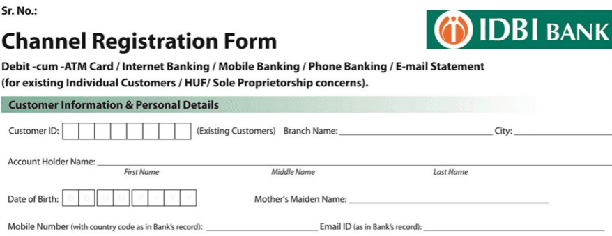 idbi mobile and internet banking registration form