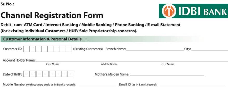 idbi mobile and internet banking registration form