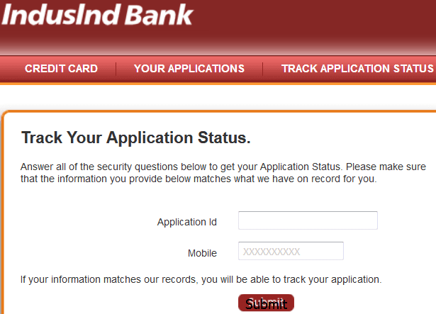 indusind credit card status online