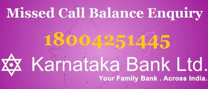 karnataka bank missed call balance enquiry
