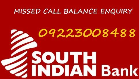 south indian bank missed call balance enquiry number