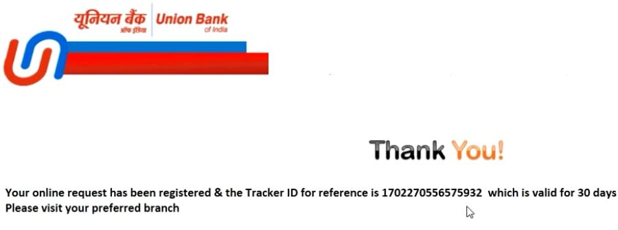 union bank of india acccount opening confirmation