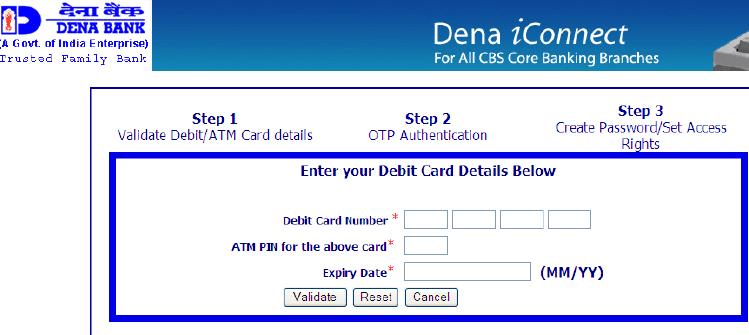 atm debit card details dena bank