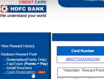 cash redemption hdfc reward points