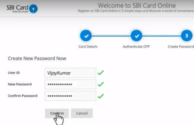 create userid password for sbi credit card