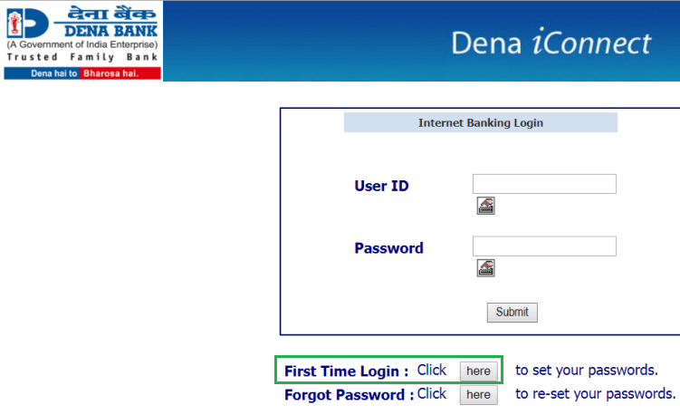 first time login dena net banking