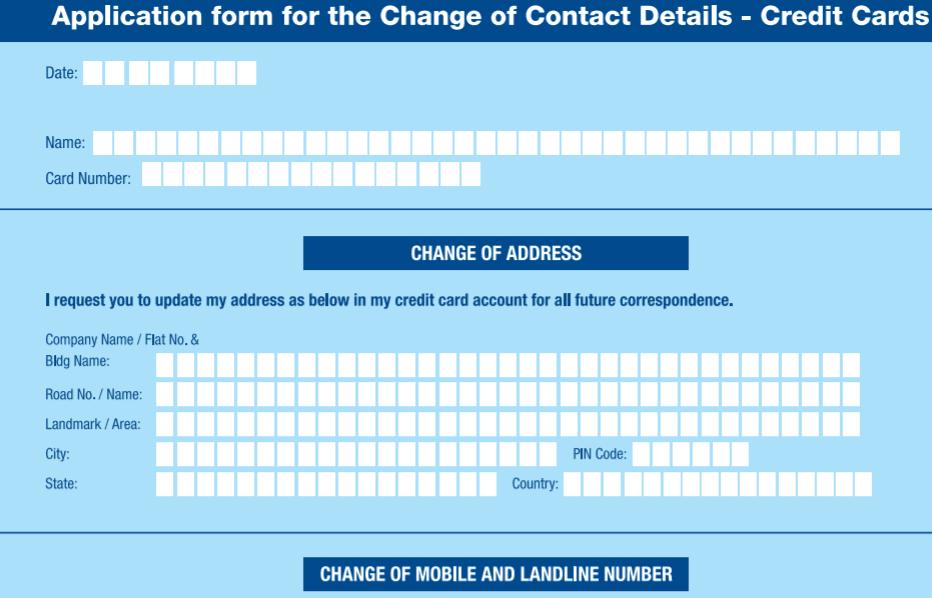 change hdfc credit card address online