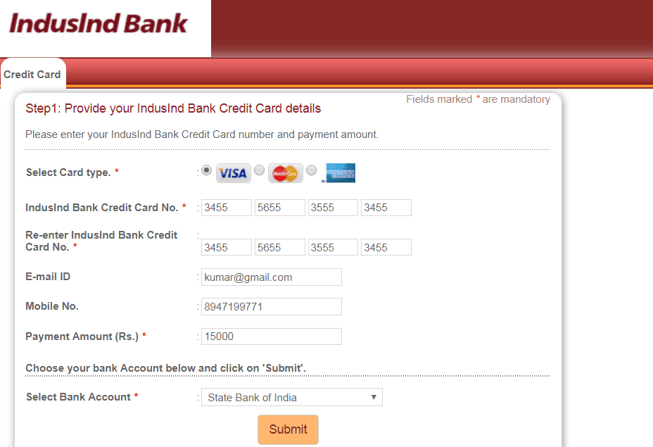 indusind credit card bill payment online