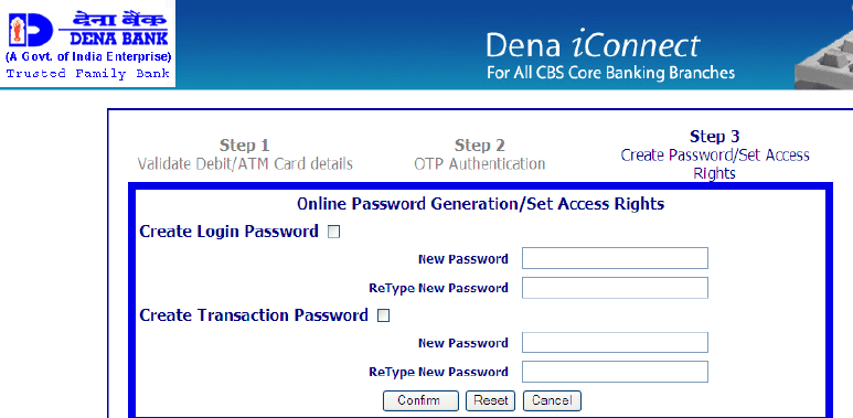 login transaction password dena net banking