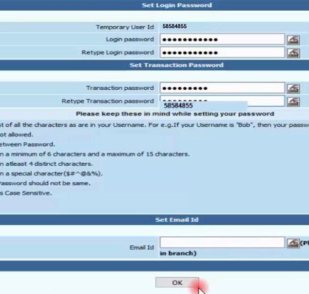 set login and transaction password uco bank