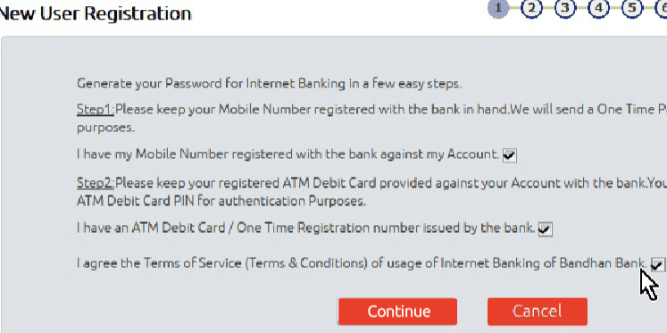 new user register bandhan net banking