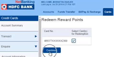 redeem rewards points hdfc
