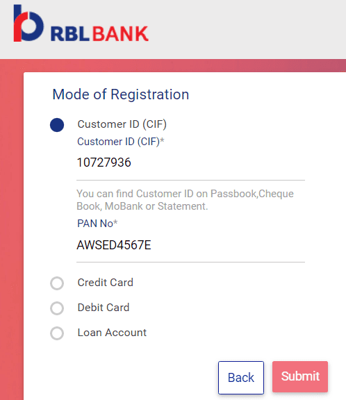 select mode for rbl net banking registration