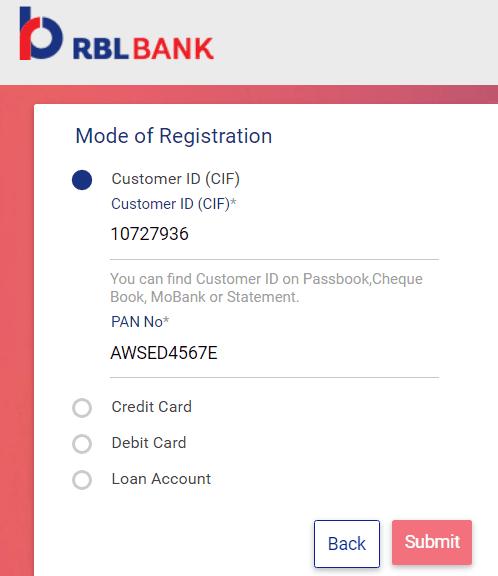 select mode for rbl net banking registration