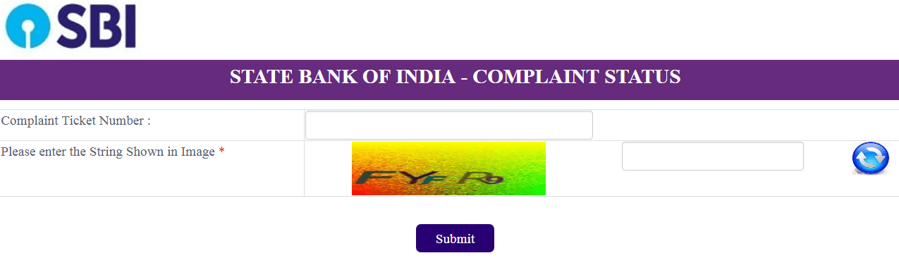 check sbi complaint status online