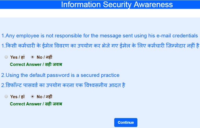 answer security questions on sbi hrms portal