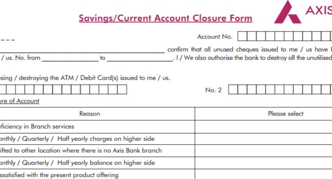 axis bank closure form sample