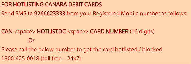 block canara bank atm debit card