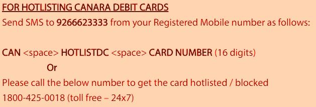 block canara bank atm debit card