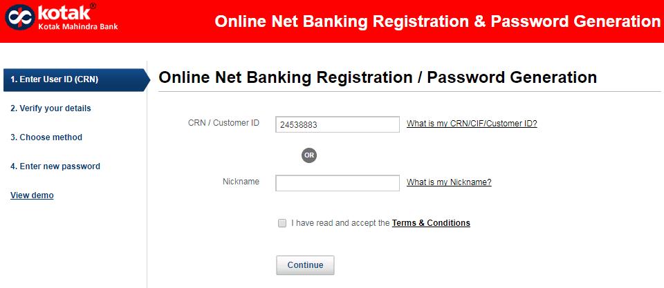 enter crn number kotak net banking