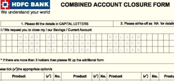 hdfc bank account closure form