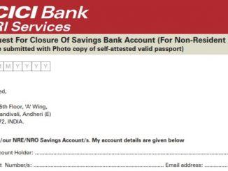 icici bank account closure form