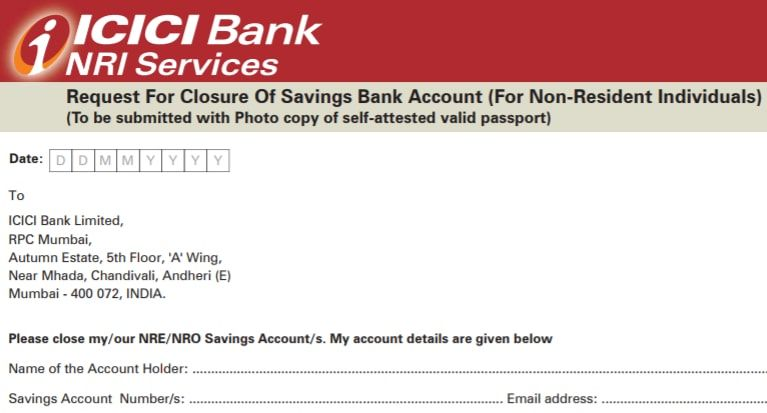 icici bank account closure form