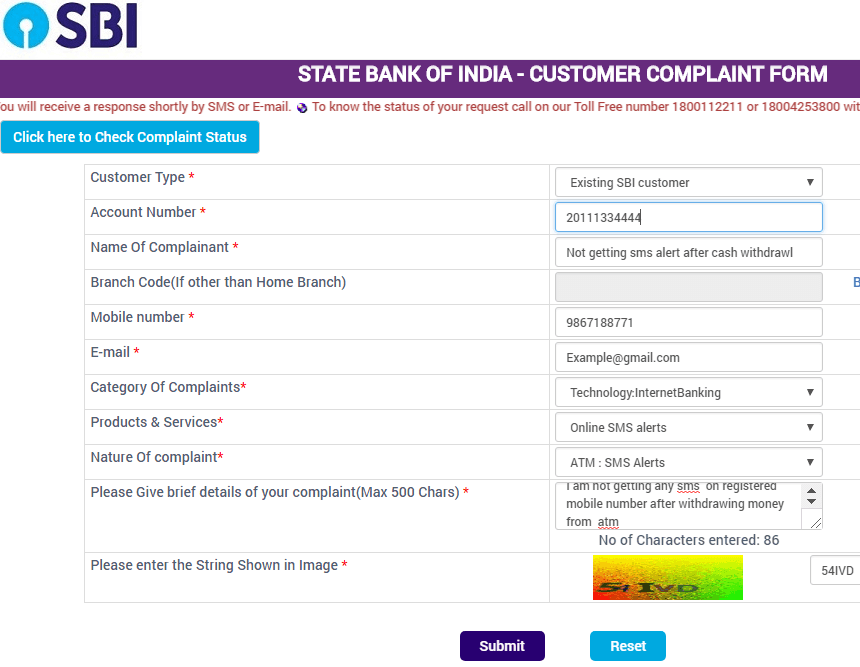 register complaint in sbi online