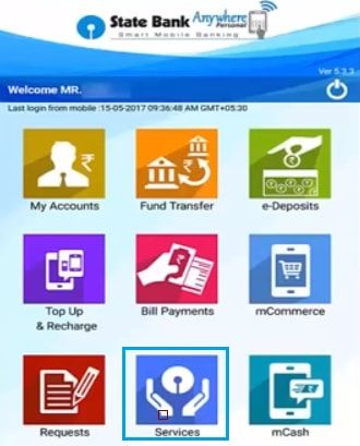 services in sbi anywhere app