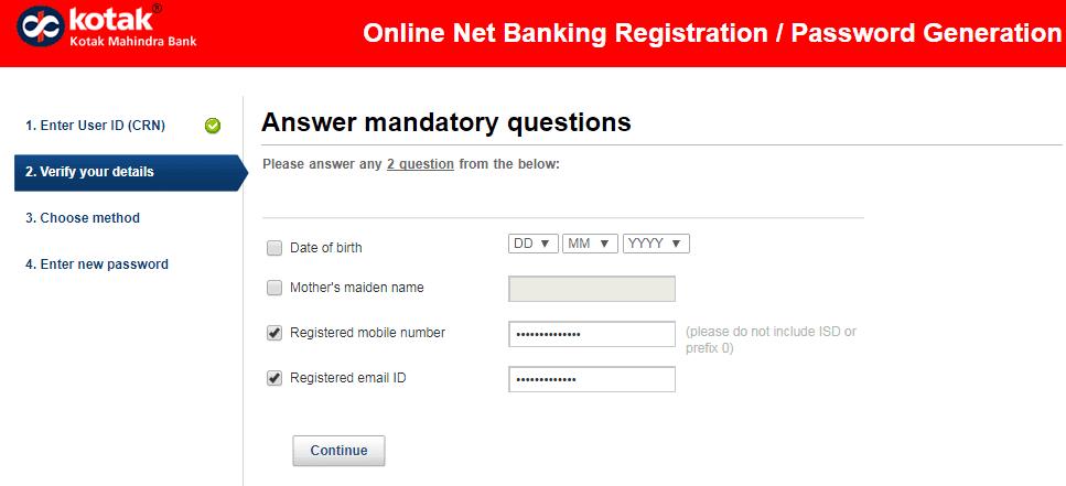 verify details kotak net banking
