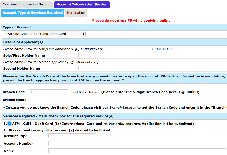 account information section sbi