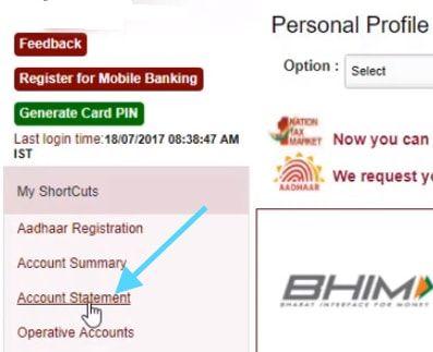 account statement Punjab National Bank
