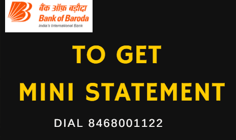 bank of baroda mini statement missed call number