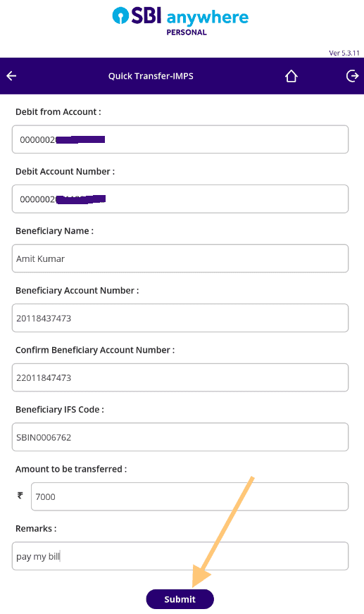 enter beneficiary details and amount in sbi anywhere personal app