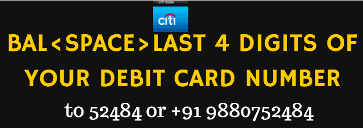 citibank balance enquiry by sms