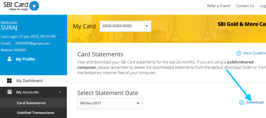 download sbi credit card statement
