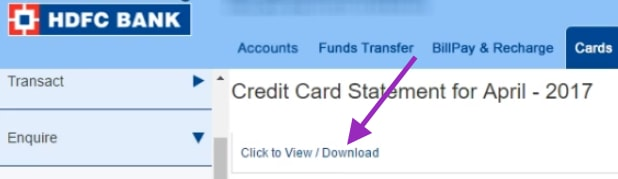 download hdfc credit card statement