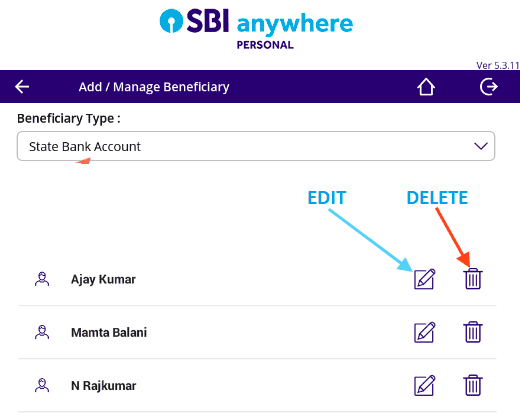 edit and delete beneficiary in sbi anywhere personal app
