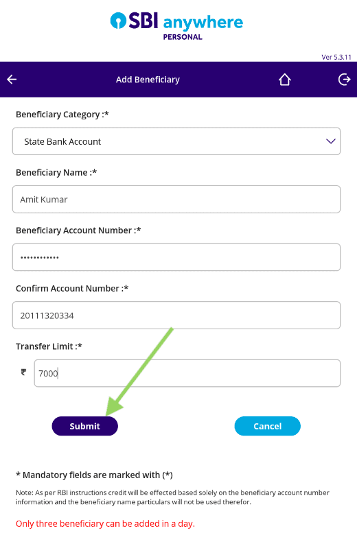 fill beneficiary details in sbi anywhere personal app