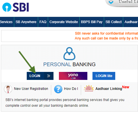 first time login to sbi internet banking
