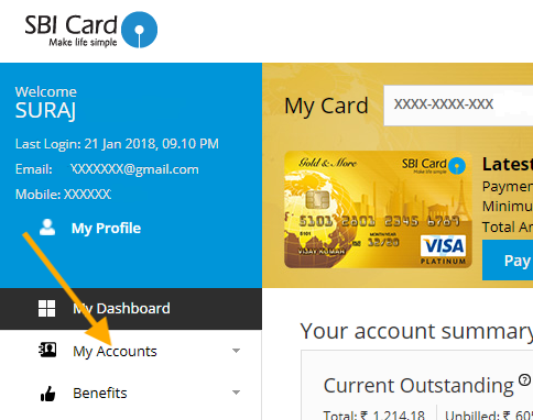 my accounts tab in sbi credit card