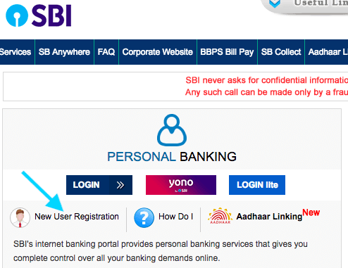 new user registration in sbi internet banking
