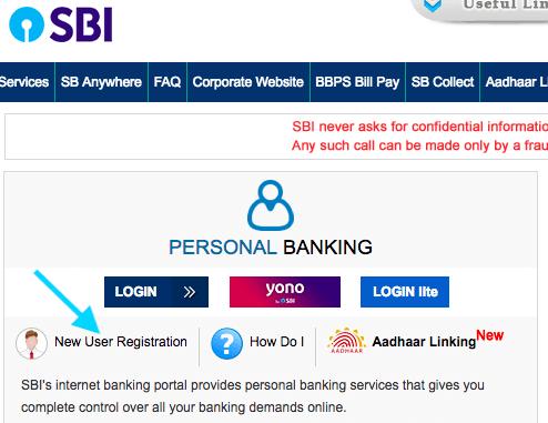 sbi net banking online registration process