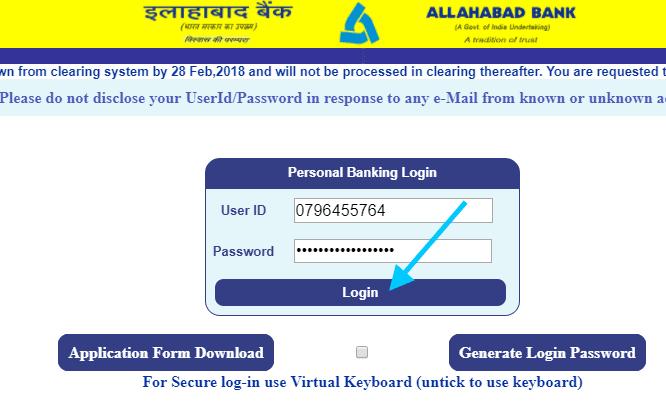 allahabad bank net banking first time login