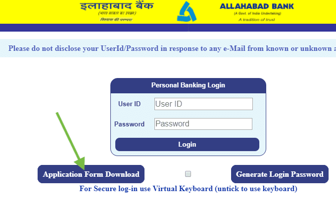application form download for allahabad net banking