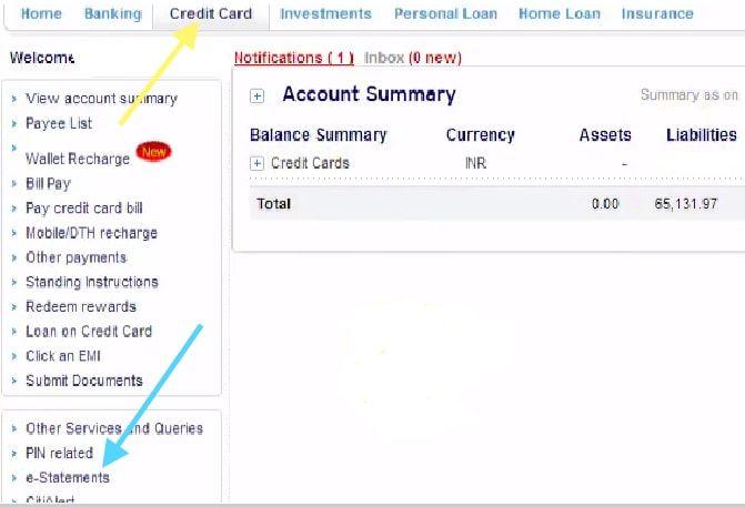 credit card tab citibank net banking
