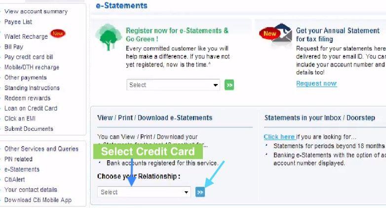 download credit card statement citibank